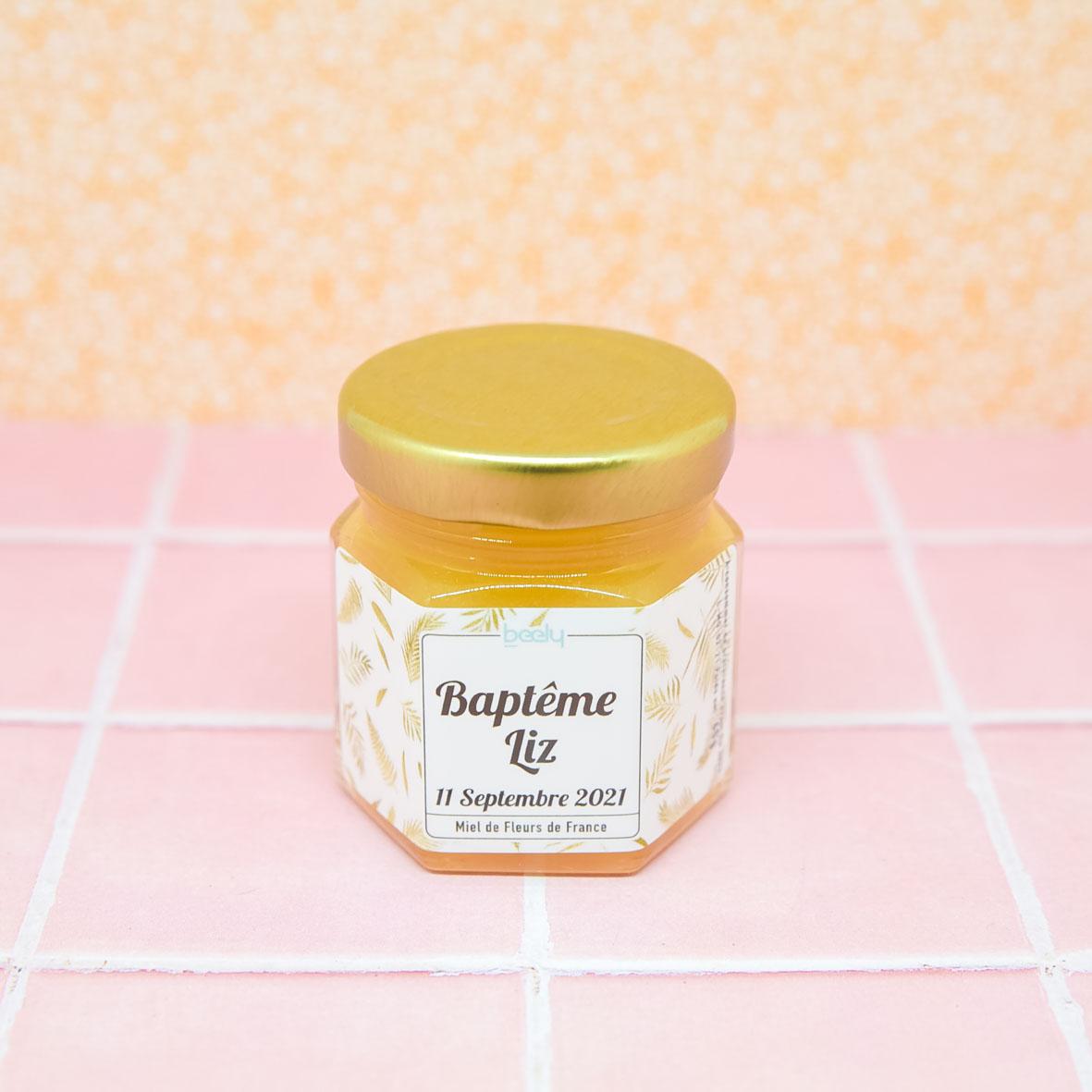petit pot de miel pour invité bapteme